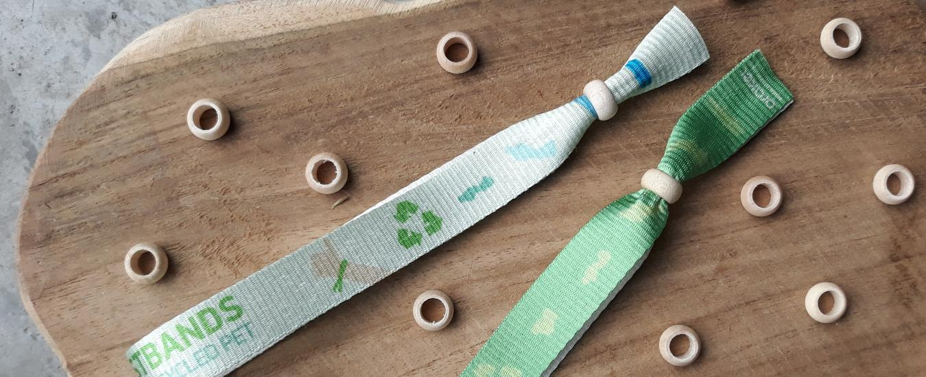 Printed Fabric Wristbands in R-PET ribbon with wooden pearl closure