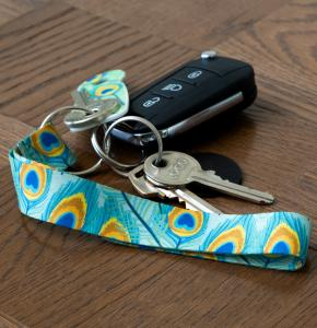 Fabric Keychain printed with full colour attached to keys