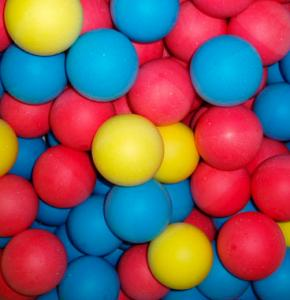 Sponge Balls in blue, yellow and red