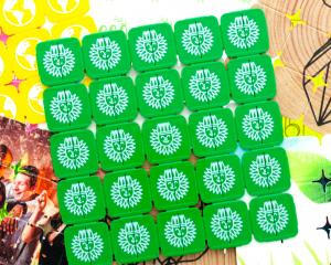 Personalised Festival Tokens in recycled plastic, wood and eco