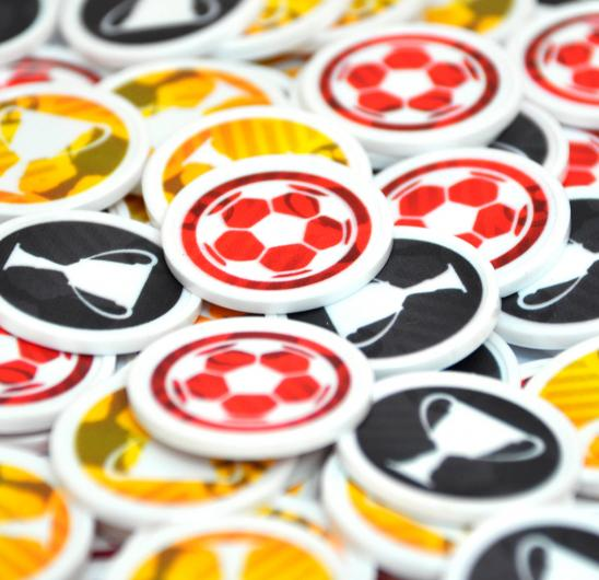 Recycled Plastic Tokens 29 mm with pre-printed football designs